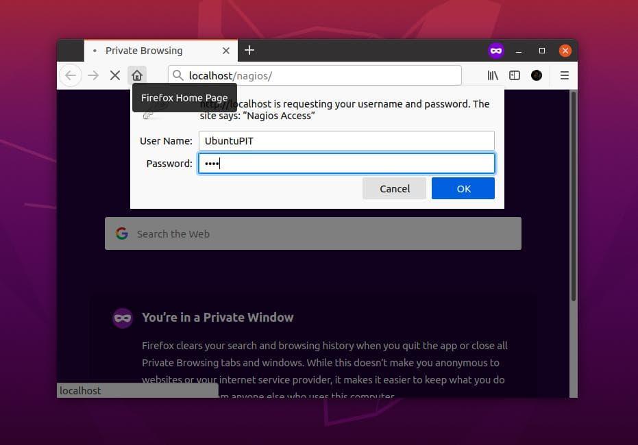 Nagios in Ubuntu password