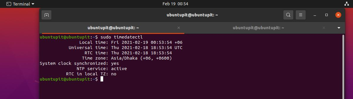 Synchronize Time with NTP in Linux see time