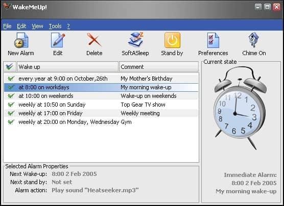 WakeMeUp free alarm clock for PC