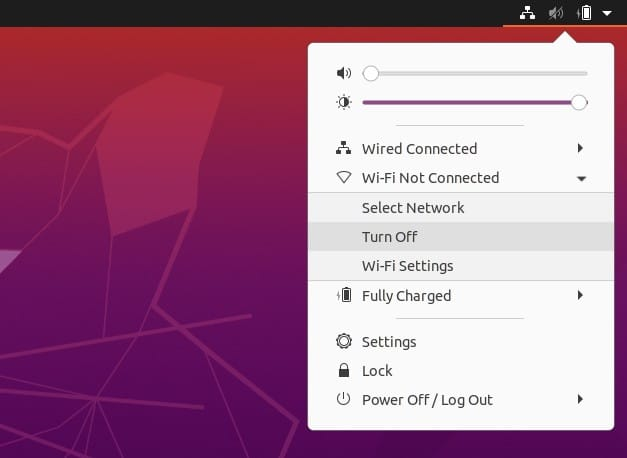 disable wifi from top bar