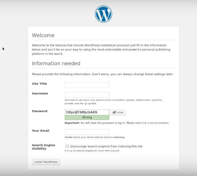 install WP via the web