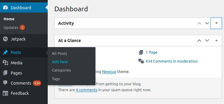 new post in WordPress Ubuntu