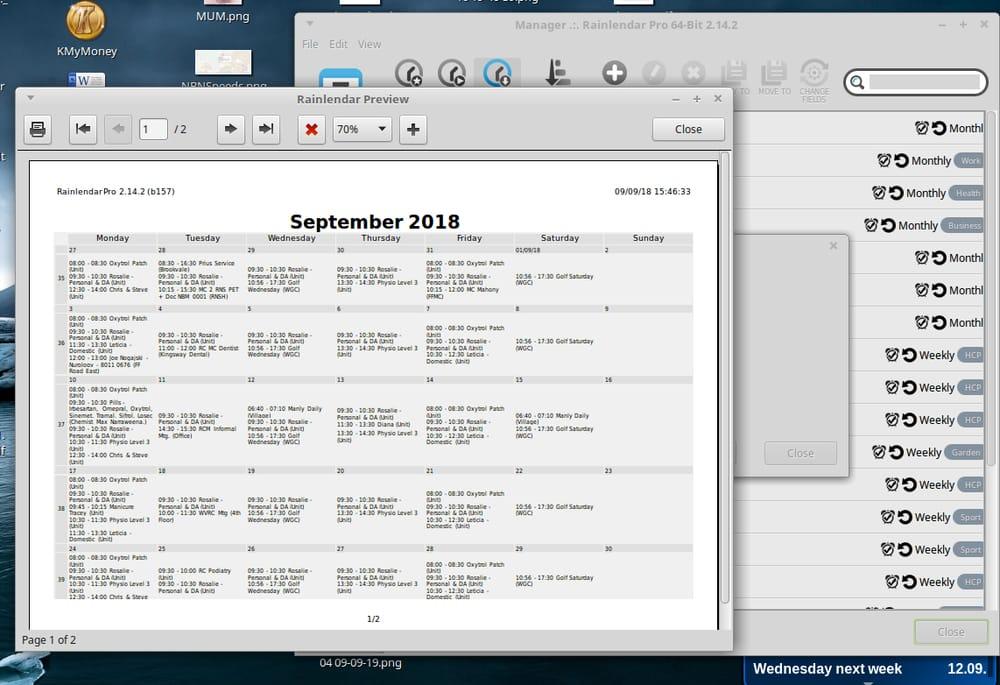 Rainlendar reminder apps for Windows