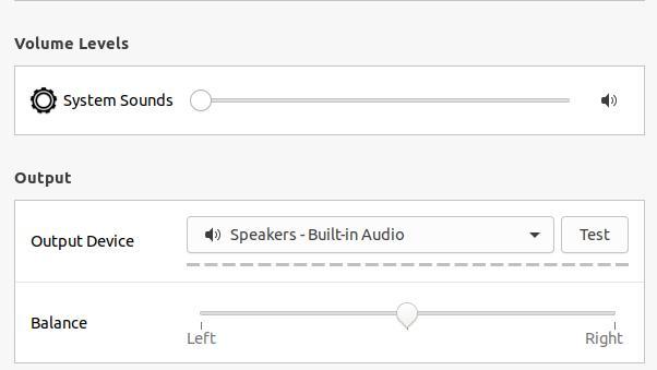 sound balance on linux