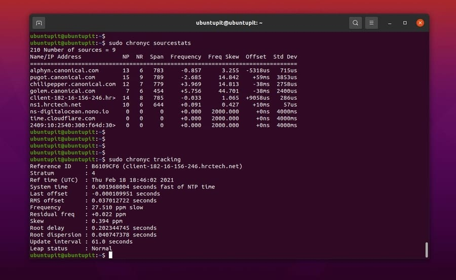 source stats tracking Synchronize Time with NTP in Linux