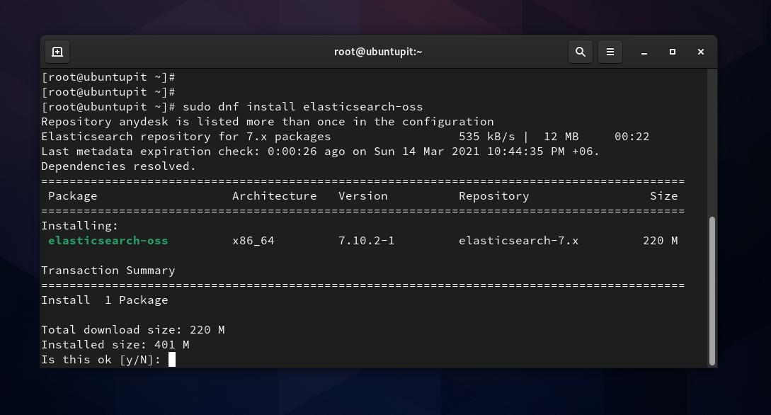 DNF install Elasticsearch on Fedora Linux