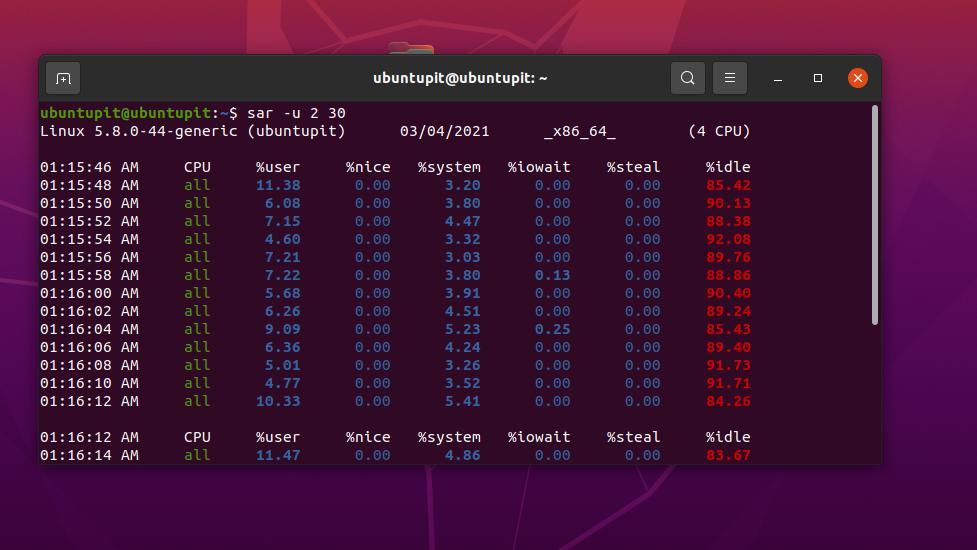 Sysstat on Ubuntu sar u 2 30
