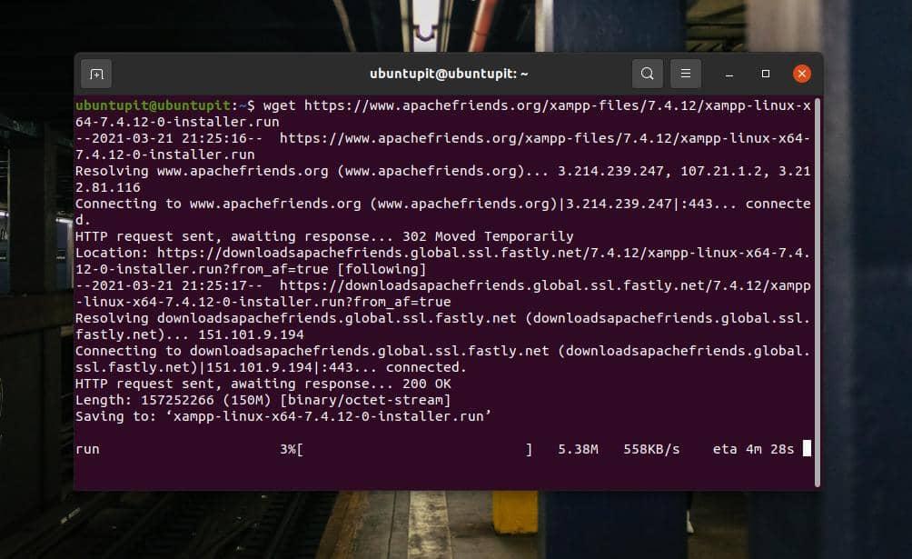 download xampp on Ubuntu