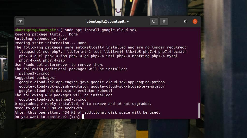 install Google sdk on Ubuntu