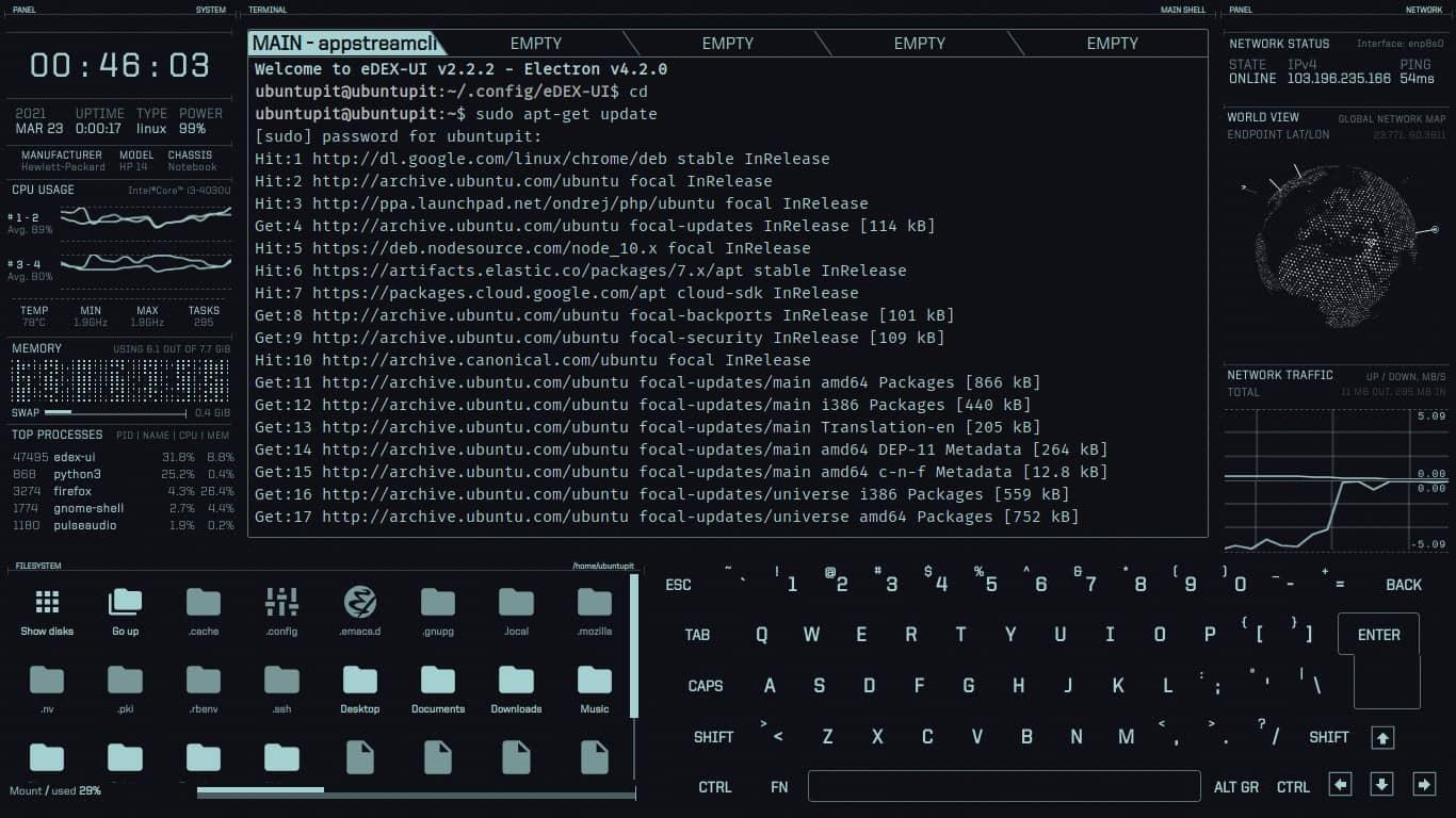 run apt update on edex UI Ubuntu