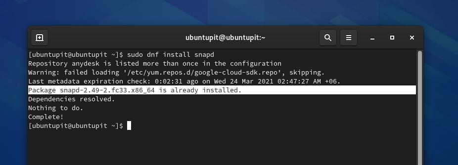snap on Fedora