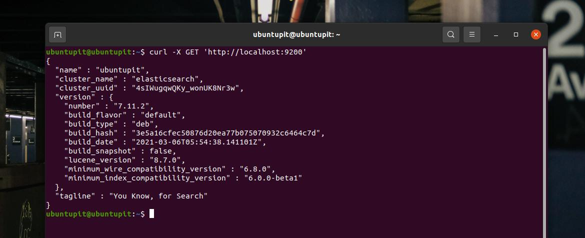 test cURL elasticsearch on Ubuntu