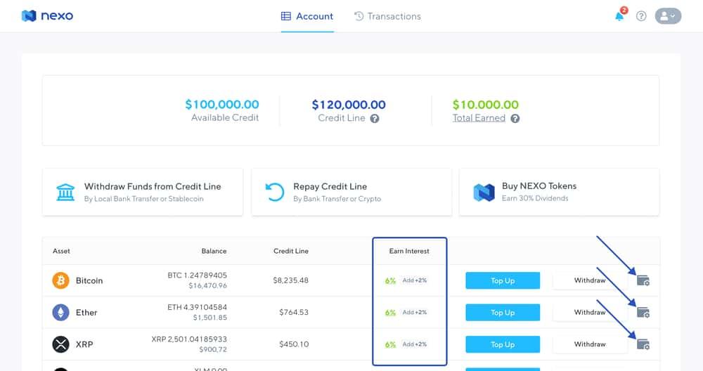 Nexo Crypto Interest Account