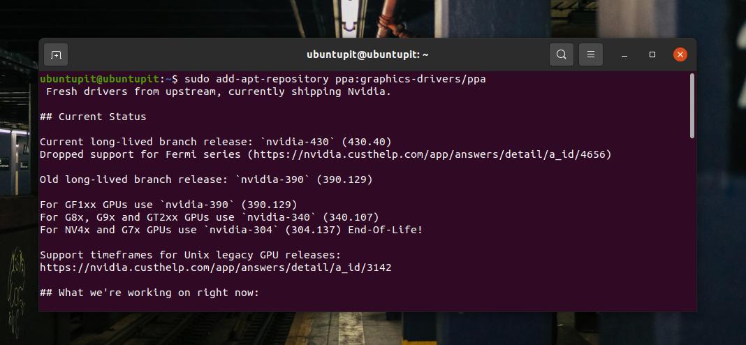 nvidia graphics driver PPA