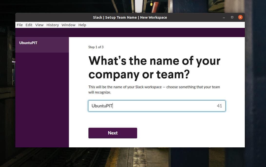 team name on Slack