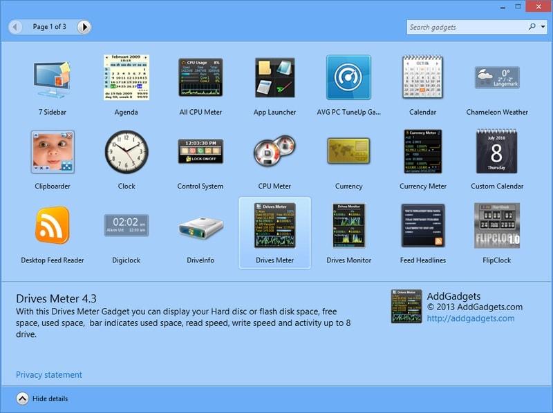 8gadgetpack - widget for Windows