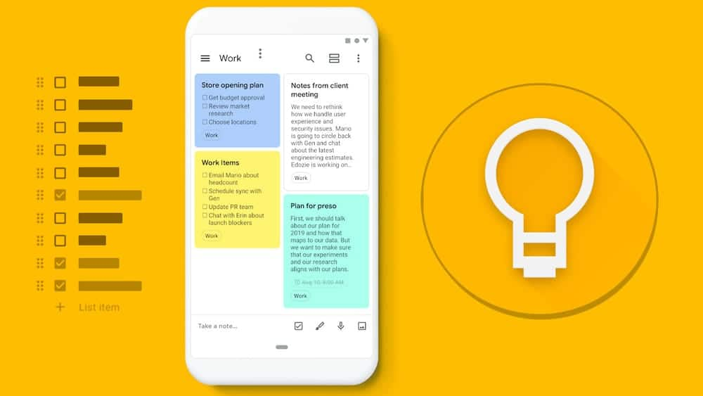 Google Keep, Android Tablet apps