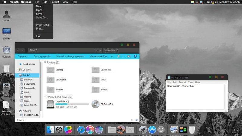 macos_dark - macOS Transformation Pack
