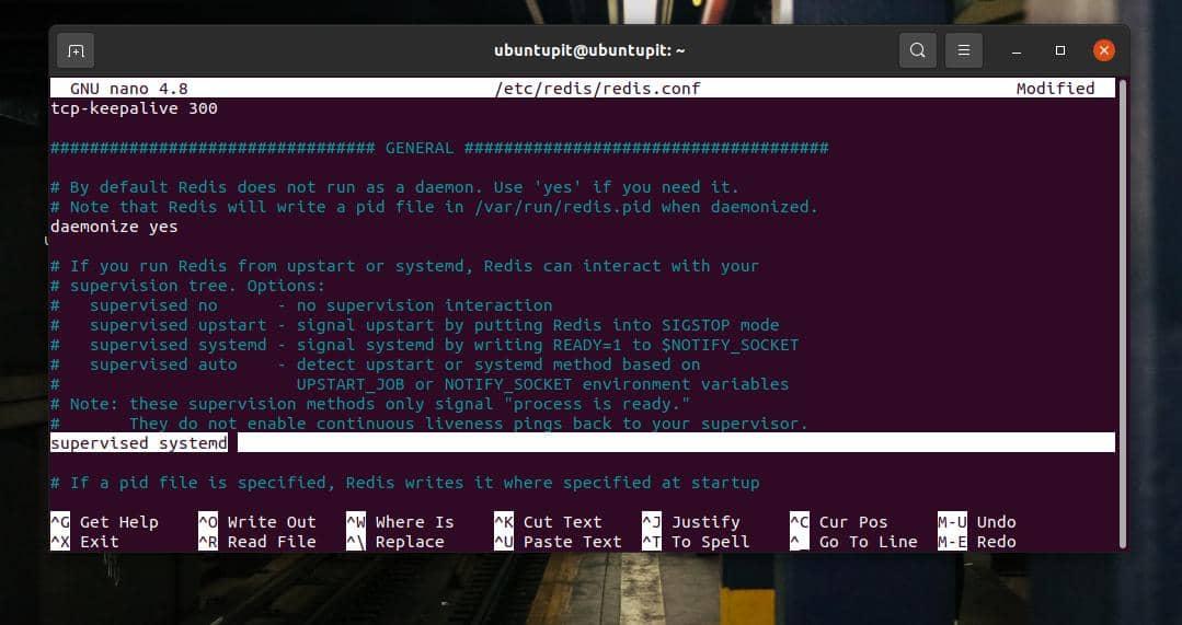 redis config on ubuntu systemd