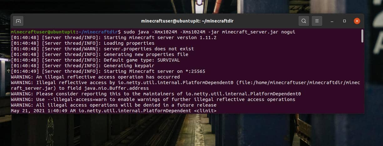 start minecraft on Linux