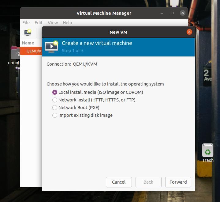 step create a new VM