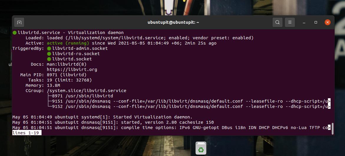 virtualization status KVM on ubuntu