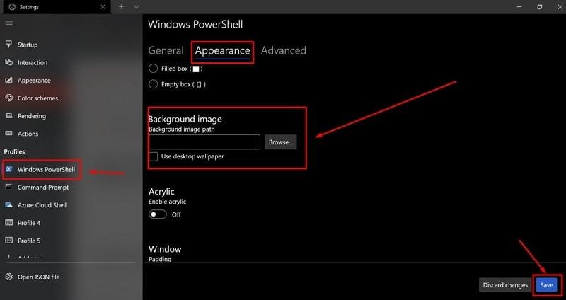 change terminal background - Windows Terminal themes