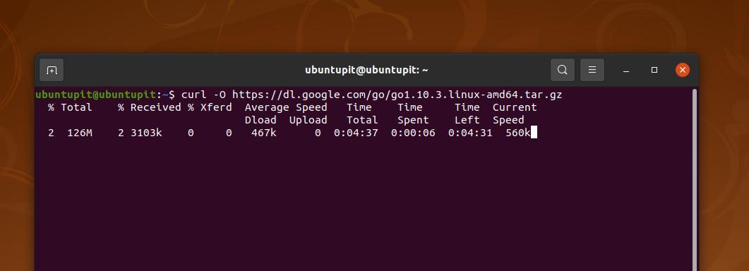 download Golang on Linux via cURL