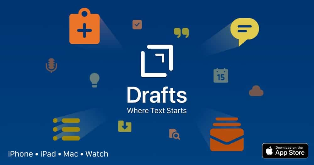 Drafts, writing apps for iPad