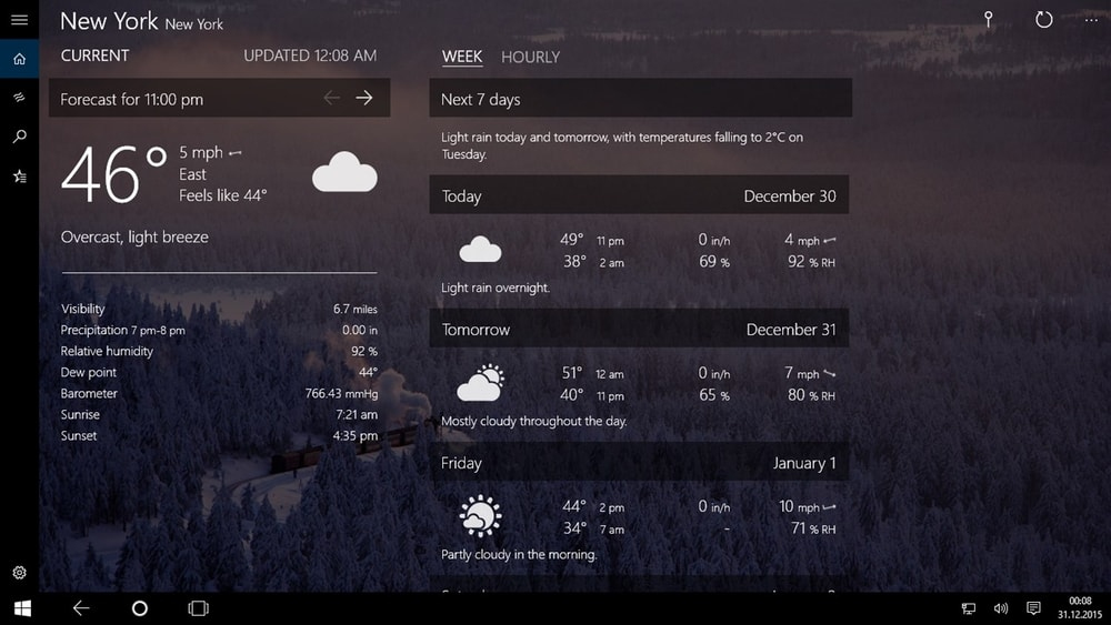 Forecast Weather app for windows 10