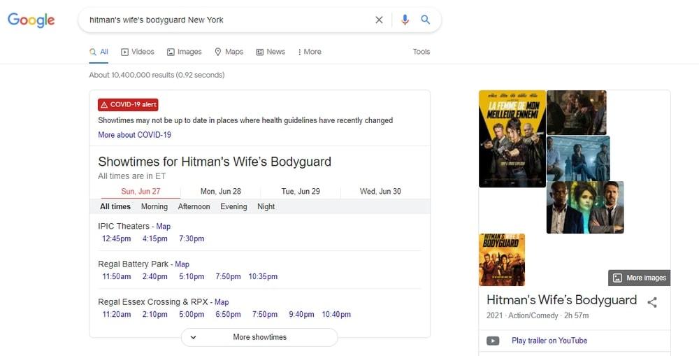 Get Movie ShowTime - Google Search Tricks