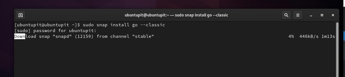 install go via Snap