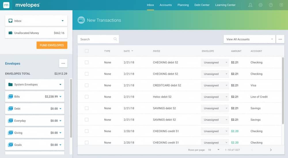 Mvelopes money management software