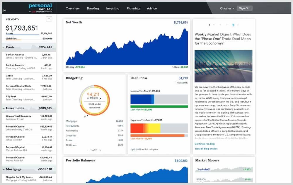 Personal Capital financial management software