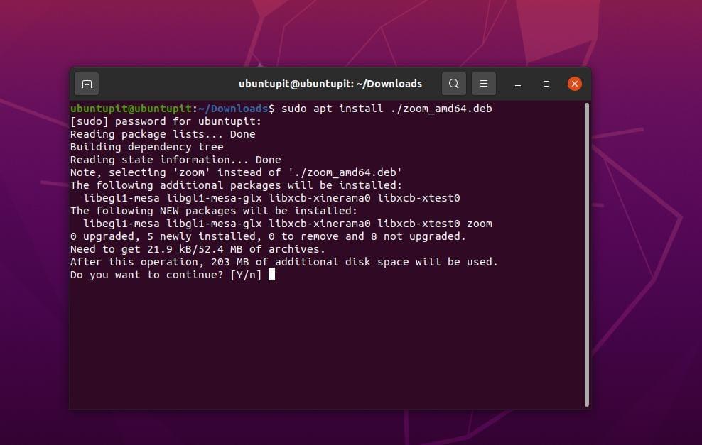 install zoom on ubuntu Linux