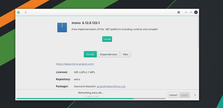 installing mono tool on arch Linux via GUI