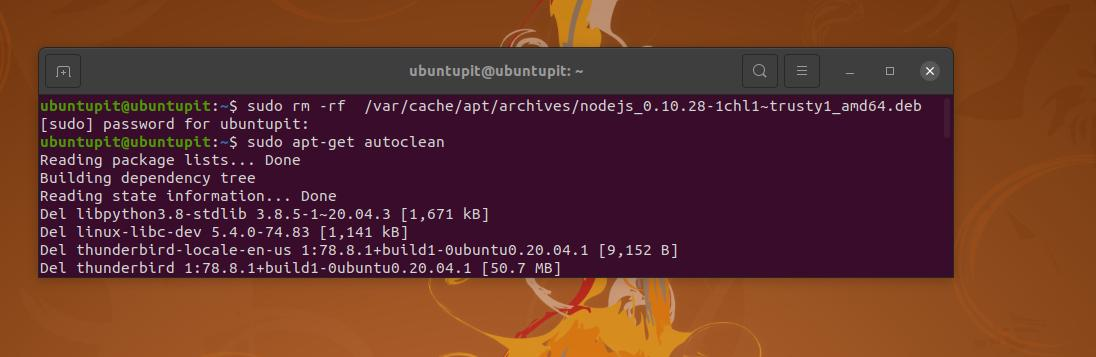nodejs_ rm rf on ubuntu