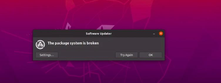software updater the package system is broken