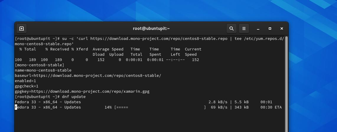 sudo su mono_project curl and dnf update on Fedora