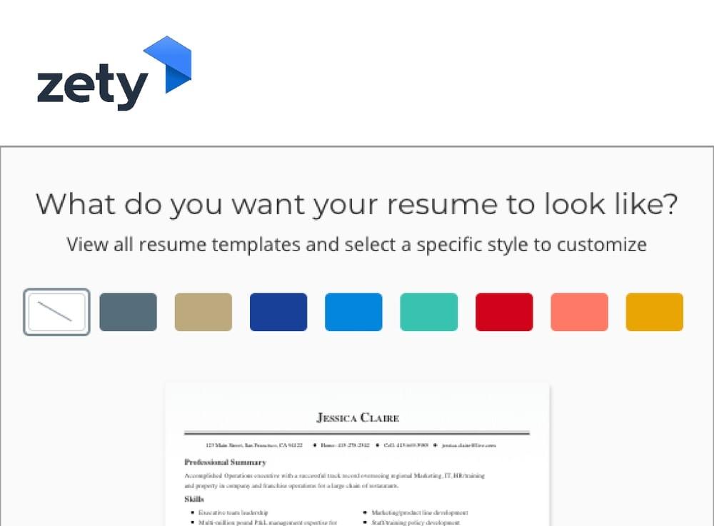 zety _ online resume builder