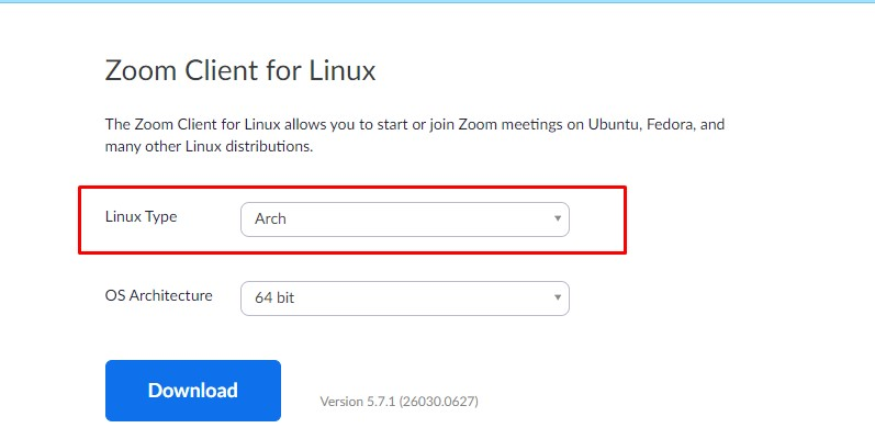 zoom client for Arch Linux