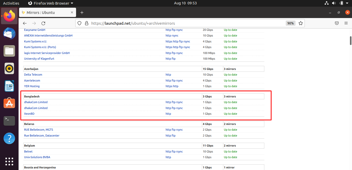 Bangladesh server archivemirror select