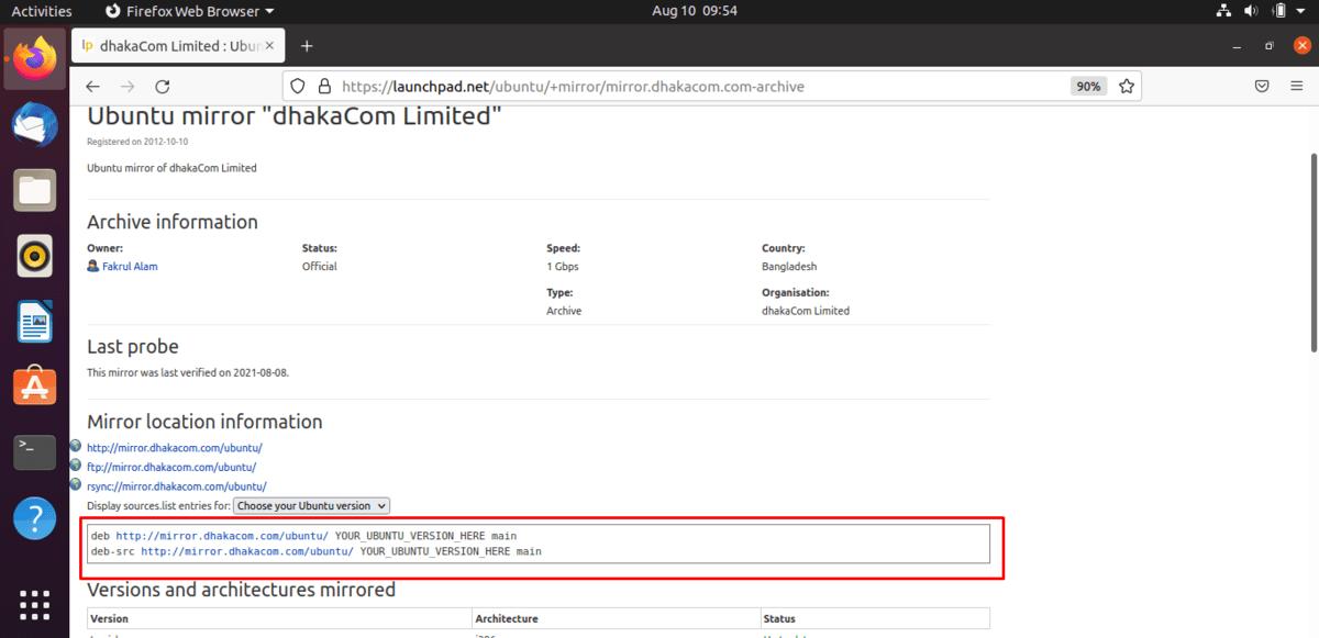 Ubuntu archivemirror server copy code