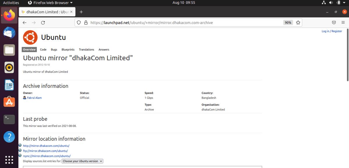 Bangladesh server site for ubuntu