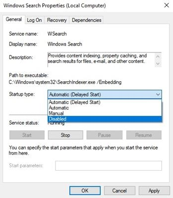 Disable Windows Search to speed up Windows 10