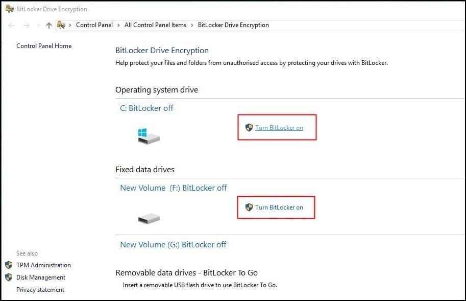 Disk Encryption by BitLocker