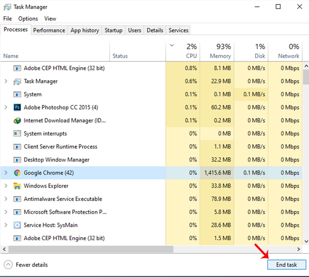 End Process from the Task Manager