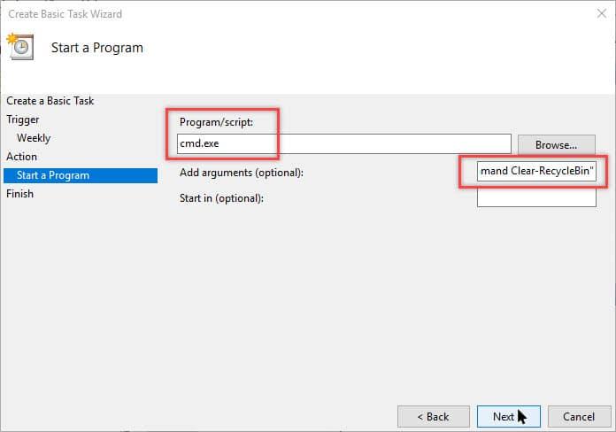 Step 6 Schedule Windows 10 to Empty Recycle Bin