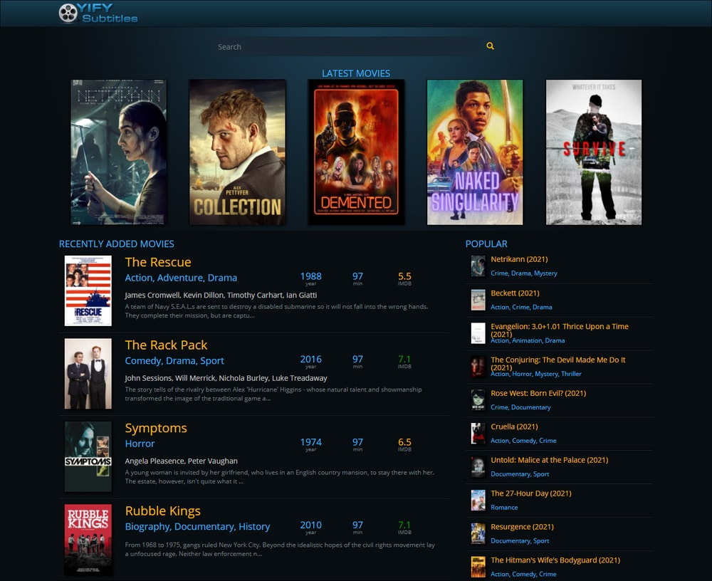 YIFY Subtitles download site