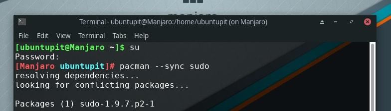 downloading sudo in manjaro